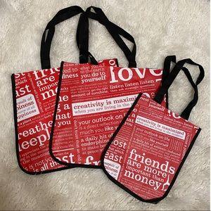 Lululemon Red Reusable Shopping Bags Set of 3